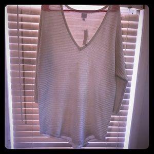 Soho NY & Co White Shimmer V-Neck Sweater NWT XL
